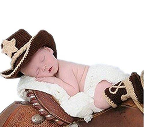 Hecho a mano bebé recién nacido bebé niña niño ganchillo sombrero vaquero  botas fotografía Props ropa disfraz 85937ec1bf9